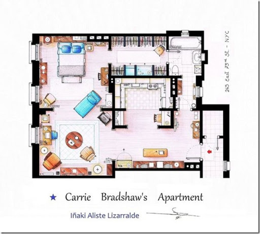 Television-Series-Apartments-Floor-Plans-Sex-and-the-City
